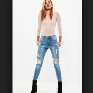 {Missguided} Sinner High Waist Skinny Blue Jeans